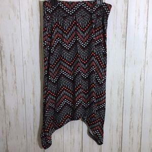 Chevron Print Asymmetrical Cut Maxi Skirt